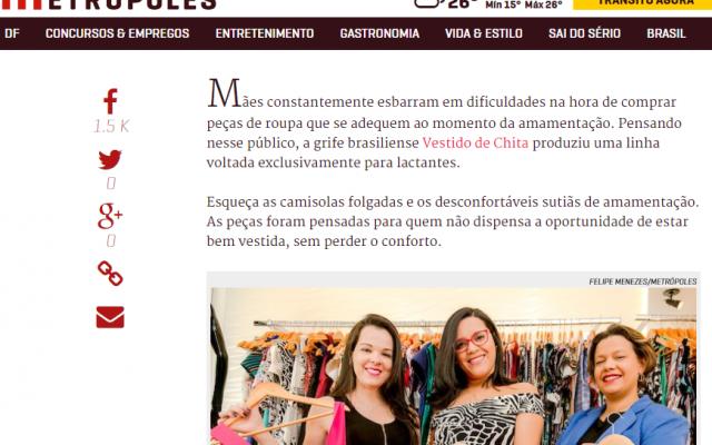 Linha de roupas para amamentação é notícia no Metrópoles